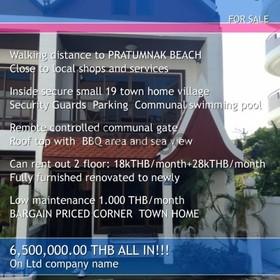 Pratumnak Corner Townhome in Village Bargain