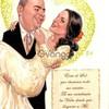 Ilustracion de novios en caricatura para su invitacion