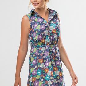 Платье-рубашка Цветы на синем