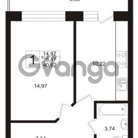 Продается квартира 1-ком 41 м² Пригородная