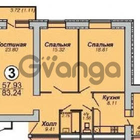 Продается квартира 3-ком 83 м² 65-летия победы ул.,9