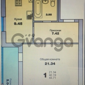 Продается квартира 1-ком 44 м² Приморская