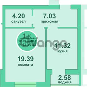 Продается квартира 1-ком 44 м² Потёмкина