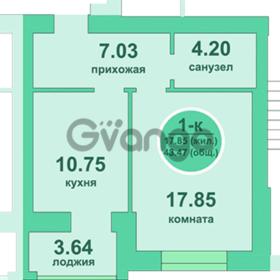 Продается квартира 1-ком 43 м² Потёмкина