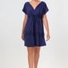 Темно-синее платье с запахом