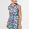 Платье-рубашка Цветы на голубом