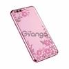 Прозрачный чехол с цветами и стразами для Xiaomi Mi 6 с глянцевым бампером Розовый золотой/Розовые цветы