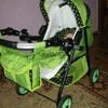 Игрушечная коляска-трансформер для кукол Adbor Mini Ring, салатовая, горошек на черном