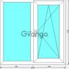 Двустворчатое окно эконом однокамерный стеклопакет, профиль 60мм